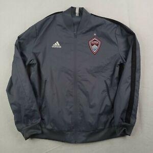 Adidas Colorado Rapids Jacket Mens Large Gray Red Full Zip Windbreaker Soccer