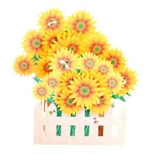 Sunflower Greeting Cards Handmade Birthday Wedding Invitation 3D Pop Up Card Art