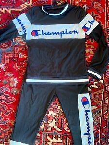 Womens 2-pc Champion Logo Tracksuit Outfit L/S Top Jogger Pants Sz M/L - Black