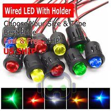 3mm 5mm 8mm 10mm Pre Wired LED + Holder DC9-12V Color Lights Emitting Diodes