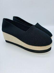 ROSY Women's Slip-On Wedge Loafer - Black US 9    #F-45