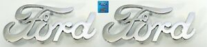 Pair (2) Chrome Ford Script Emblems w/ Mounting Studs (Licensed)