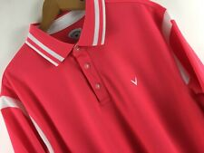 CALLAWAY Men's Golf Polo Shirt Size XL Pink with White