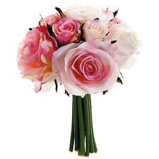 PINK ~ Soft Roses Bridal Bouquet Handtied Silk Wedding Flowers Centerpieces Silk
