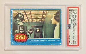 1977 TOPPS STAR WARS TRADING CARD - SERIES 1: BLUE - #17 VADER & LEIA - PSA 8