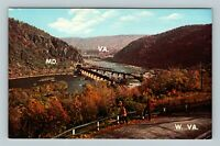 Harpers Ferry WV, View, Chrome West Virginia Postcard