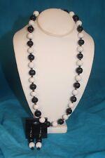 "NEW - KAZURI 22"" KANGA Beaded Necklace and Earrings set Black n White sku #1939"