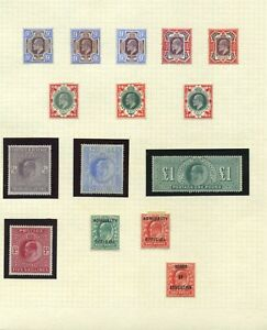 GB Mint Ed VII collection of shades with u/m 10/- and £1 Cat £12,000