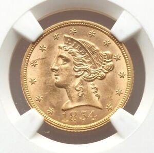 1854 P $5 NGC MS62 Gold Lamination Mint Error Five Dollar Liberty Half Eagle