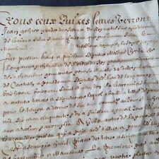 Parchemin 1651 XVIIè Bayeux Velin 17th C French Handscript