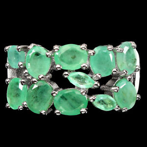 Unheated Oval Emerald 5x4mm 14K White Gold Plate 925 Sterling Silver Ring 9