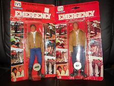 "LJN/remco EMERGENCY""51""TV vintage John Gage/Roy DeSoto figures""BROWN JACKET""moc"