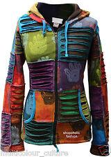 Women Multicoloured Henna Hand Hoodie Pixie Hooded Boho Hippie Jacket Goth Top