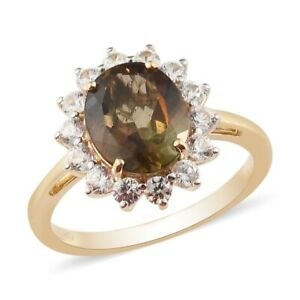 LUXORO Halo Ring 10K Gold Andalusite Zircon Flower Jewelry For Size 7 Ct 3.5