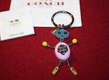 COACH ROBOT KEY CHAIN~KEY RING CUTE PINK, BLUE & YELLOW~ADORABLE CHARM W/BAG