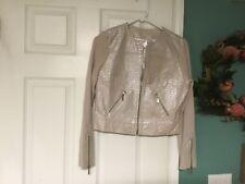 PHOSPHORUS Leather Sweater Knit Sleeve Jacket Zip Front M (CON18)