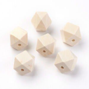 50x Wooden Octagonal Beads Smooth Large Hole Bracelet Crafts Loose Spacer