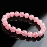 Natural Rose Quartz Pink Madagascar Crystal 10mm Round Beads Bracelet AAAA