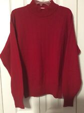 VINTAGE SPECIAL 100% CASHMERE WORLD COLLECTION RED HIGN NECK RIBBED SWEATER SZ M