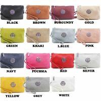 WOMENS VEGAN FAUX LEATHER CLUTCH BAG Wristlet Purse Cross Body Shoulder Handbag