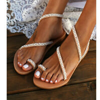 Womens Ladies Boho Pearl Sandals Beach Party Flip Flops Casual Flats Shoes Size
