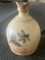 "Vintage Studio Art Pottery Pitcher 5.5"" tall with Hand Painted Blue Flower"