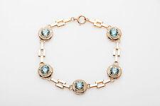Antique 1930s DECO 6ct Natural Blue Zircon 10k Yellow Rose Gold Bracelet RARE
