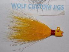 3/4 oz Yellow Wolf Custom Hot Lips Bucktail Jig Striped Bass Cobia Surf Casting