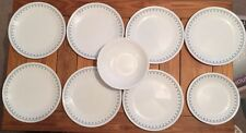 9 Pieces Corelle Snowflake Blue Dishes Plates & Large Serving Bowl Lunch Dinner