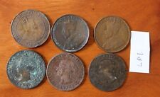 6 Canada Large Cent Coins , Canadian One Cent, -Low Quality, Bent, Culls.