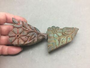 """Hand Carved Wood Print Block Lot 2 Made India Flower Floral Pair 3""""x2"""" Crafts"""