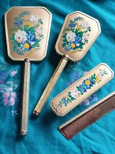 Vintage Womens Vanity Dressing Table Set Hand painted Pretty Collectables