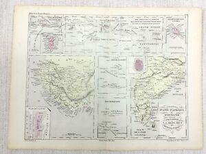 1881 Antique French African Colonies Map Marquesas Islands Reunion Hand Coloured