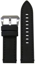 26mm Panatime Black Galaxy Leather Watch Band w Black Stitching 125/75 26/26