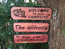 Personalized Custom Carved Cedar Wood Rustic Outdoors Camping Family Name Sign