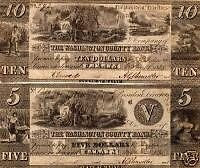$5 & $10 The Washington County Bank Note in XF