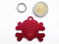 Médaille pour grand gros chien - gravée modèle molosse dogue ROUGE collier