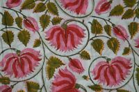 3 Yard Indian Hand block Big Floral Fabric Running Cotton Craft By Fabric New