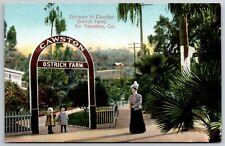 South Pasadena~Mom Waits For Kids To Come Thru Cawston Ostrich Farm Arch~c1910