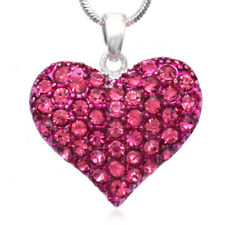 Love Mother's Day Valentines Day Pink Heart Pendant Necklace Jewelry gift box