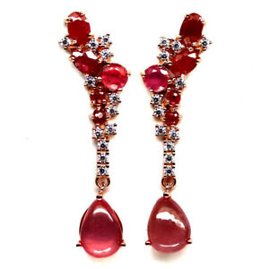 NATURAL RED RUBY & WHITE CZ EARRINGS 925 SILVER STERLING