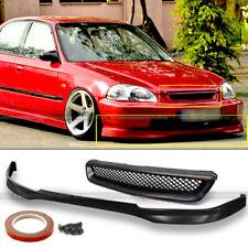 Fits 96-98 Honda Civic Ek 2Dr 3Dr 4Dr T-R Style Front Bumper Lip + Mesh Grille