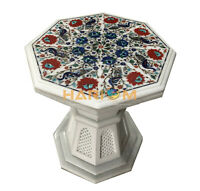 """15"""" Marble Coffee Table Top Peacock Floral Inlay & 15"""" Stand Patio Decor W004B"""