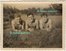 9x7cm Orig Foto 1940 Militaria 2WK WW2 junge hübsche nackte Soldaten photo C