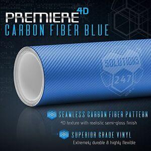 "60"" x 96"" In Vinyl Wrap Bubble Free Air Release 4D Blue Carbon Fiber Gloss Roll"