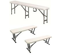Folding Plastic Bench Seat Heavy Duty For Picnic BBQ Party Garden Camping Market