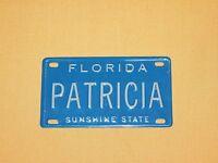 "VINTAGE 4"" X 2 1/4"" METAL PATRICIA FLORIDA SUNSHINE STATE  MINI LICENSE PLATE"