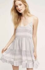 Anthropologie Eloise Women's Blue Tiered Stripe Chemise Dress Size M