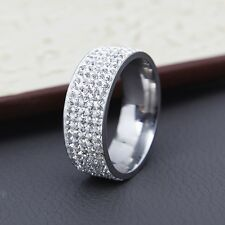 Pave Eternity Band Ring for Women Men 8mm Wide Silver Tone 5 Row Cubic Zirconia