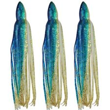 """5.5"""" to 8.5"""" Octopus Squid Hoochie Replacement Skirt -Bluewater & Gold - 3 Pack"""